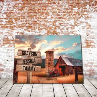 Personalized Home Barn and Sunset Color Multi-Names Premium 1,5 Framed Canvas - Street Signs Customized With Names- Home Living- Wall Decor