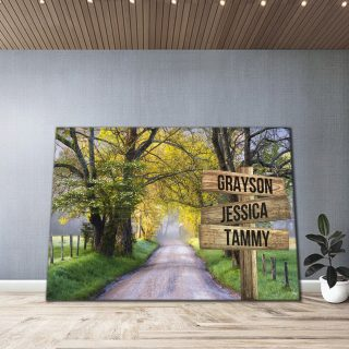 Personalized Autumn Road Color Multi-Names 0.75 and 1,5 Framed Canvas - Street Signs Customized With Names- Home Living- Wall Decor
