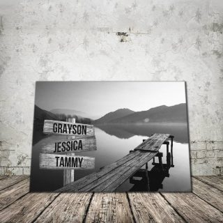 Personalized Peaceful Lake Dock Multi-Names Premium 0.75 and 1,5 Framed Canvas - Street Signs Customized With Names- Home Living- Wall Decor