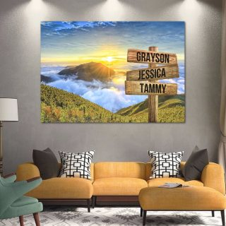 Personalized Smoky Mountains Names Premium 1,5 Framed Canvas - Street Signs Customized With Names- Home Living- Wall Decor
