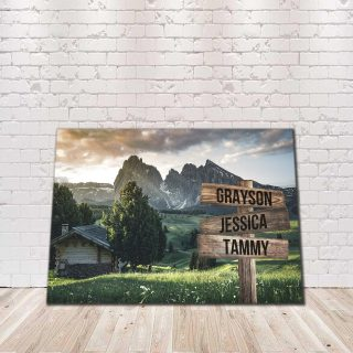 Personalized Beautiful Land Multi-Names Premium 1,5 Framed Canvas - Street Signs Customized With Names- Home Living- Wall Decor