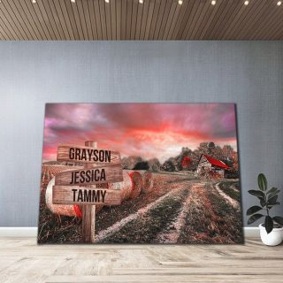 Personalized Home Barn Multi-Names Premium 1,5 Framed Canvas - Street Signs Customized With Names- Home Living- Wall Decor