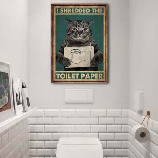 Gearsly Cat I Shredded The Toilet Paper 0.75 and 1,5 Framed Canvas - Gifts for Pet Lovers- Home Living- Canvas Wall Decor