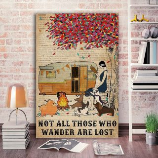 Camping Girl Not All Those Who Wander Are Lost 0.75 and 1,5 Framed Canvas - Gifts for Pet Lovers- Home Living- Canvas Wall Decor