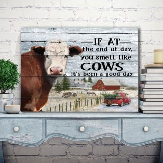 If At The End Of Day You Smell Like Cows It's Been A Good Day Merry Christmas 0.75 and 1,5 Framed Canvas -Home Living- Wall Decor