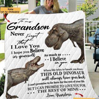 Personalized Dinosaur To My Grandson Blanket, Dinosaur Blanket, Fleece Blanket, Christmas Quilt, Xmas Gift, Gift For Grandson, Custom Name