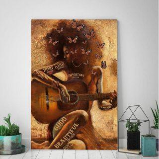 Guitar Beautiful Enough - Beautiful Black Girl 0.75 & 1,5 Framed Canvas - Canvas Wall Art - Home Decor