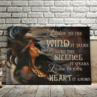 The Native American Girl – Listen To The Wind, It Talks 0.75 and 1,5 Framed Canvas - Home Living- Wall Decor