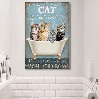 Cat Wash Your Paws Christmas Canvas, Christmas Gift For Cat Lovers, Cat Canvas, Meowy Christmas, Cat Mom, Cat Dad, Wall Art, Home Decor