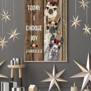 Today I Choose Joy Christian Canvas, Christian Canvas, Jesus Lover, Alpaca Canvas, Llama Canvas, Vintage Canvas, Wall Art, Home Decor