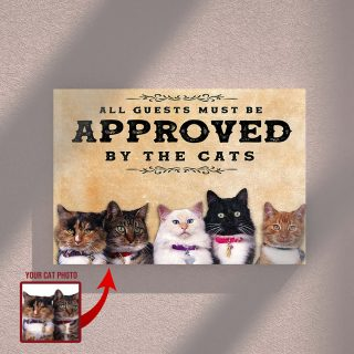 All Guests Must Be Approved By The Cats- Gift For Lovers 0.75 and 1,5 Framed Canvas - Home Decor - Wall Decor