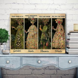 Girl Love Wine And Gardening – Your Mind Is A Garden 0.75 & 1,5 Framed Canvas - Canvas Wall Art - Home Decor