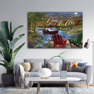 Lake Life You and Me We Got This Husband and Wife Custom Name 0.75 and 1,5 Framed  Canvas, Custom Family, Custom Family Print, Wall Decor
