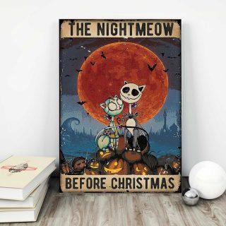 The Nightmeow Before Christmas  Vertical 0.75 & 1,5 Framed Canvas - Christmas Gift Ideas - Canvas Wall Art -Home Decor