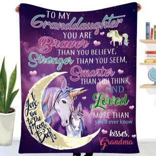 Unicorn To My Granddaughter Blanket, Fleece Blanket, Christmas Gift, Unicorn Blanket, Gift For Granddaughter, Family Gift