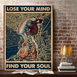 Nature Animals Lose Your Mind Find Your Soul Vertical 0.75 & 1,5 Framed Canvas - Gift Ideas - Canvas Wall Art -Home Decor