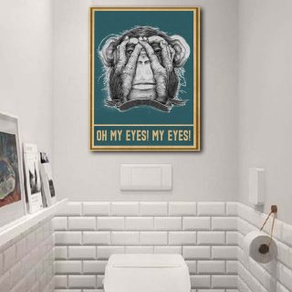 Funny Monkey Oh My Eyes My Eyes Bathroom Decor Vertical 1,5 Framed Canvas -Best Gift for Animal Lovers - Home Living- Wall Decor