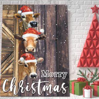 Funny Cow Morry Christmas Canvas, Farmer Gift, Merry Christmas, 0.75 & 1,5 Framed Canvas - Home Living -Wall Decor