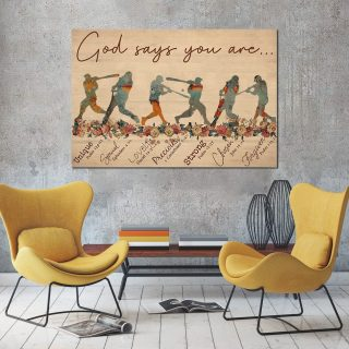 Baseball God Says You are Unique Special 0.75 & 1.5 In Framed Canvas -Home Decor- Wall Decor, Canvas Wall Art