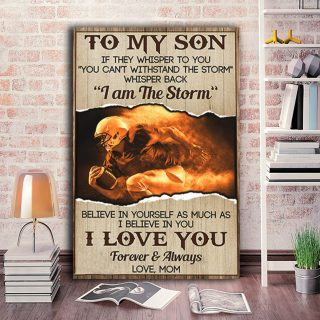American Rugby Football Believe In Yourself As Much As I Believe In You 0.75 & 1,5 Framed Canvas- Son Gifts From Mom- Home Living,Wall Decor