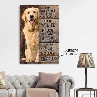 Golden Retriever I Am Your Friend Your Partner Your Golden 0.75 & 1,5 Framed Canvas  - Home Living- Wall Decor