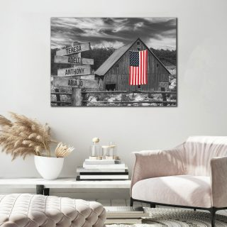 Personalized American Home Barn Multi-Names Premium 0.75 & 1,5 Framed Canvas - Street Signs Customized With Names- Home Living- Wall Decor