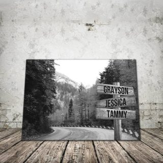 Personalized Autumn Road Names Premium 1,5 Framed Canvas - Street Signs Customized With Names- Home Living- Wall Decor