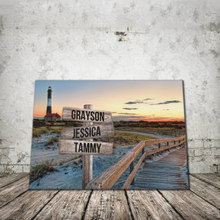 Personalized Fire Island Lighthouse Multi-Names 0.75 and 1,5 Framed Canvas - Street Signs Customized With Names- Home Living- Wall Decor