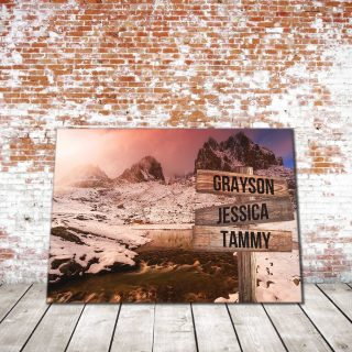 Personalized Winter Stream Multi-Names Premium 0,75& 1,5 Framed Canvas - Street Signs Customized With Names- Home Living- Wall Decor