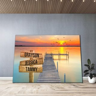 Personalized Ocean Dock and Sunrise Names Premium 1,5 Framed Canvas - Street Signs Customized With Names- Home Living- Wall Decor