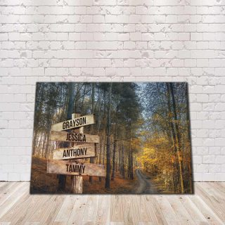 Personalized Autumn Road Multi-Names Premium 1,5 Framed Canvas - Street Signs Customized With Names- Home Living- Wall Decor