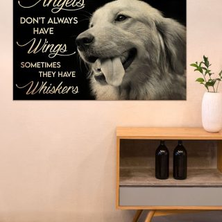 Angels Don't Always Have Wings Sometimes They Have Whiskers Memorial Canvas, Dog Canvas, Memorial Gift, Housewarming Gift, Wall Art, Home D