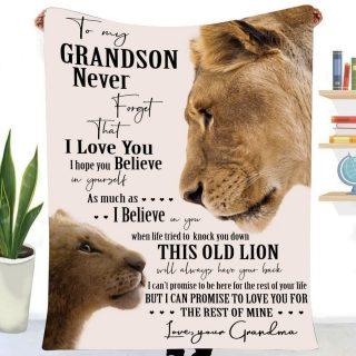 To My Grandson Never Forget That I Love You Blanket, Gift For Grandson, Grandma Gift, Christmas Gift, Fleece Blanket, Family Blanket
