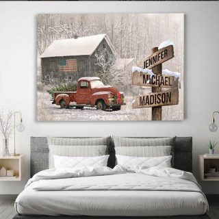 Personalized Christmas Family Multi-names Canvas, Landscape Canvas, American Barn Red Truck Christmas Canvas, Wall Art Decor, Xmas Gift