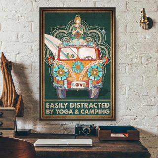 Hippie Girl Easily Distracted By Yoga & Camping Canvas, Hippie Yoga Girl, Hippie Art, Wall Art Decor, Home Decor