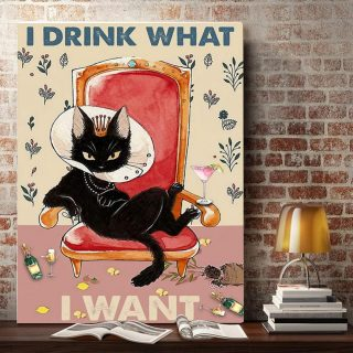 Black cat queen I drink what I want 0.75 & 1,5 Framed Canvas - Best Gift for Animal Lovers - Home Living - Wall Decor
