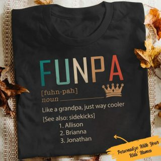 Personalized Funpa Definition Funny Shirt, Custom Grandkid's Names, Funny Grandpa Shirt, Gift For Grandpa, Family Shirt, Family Gift