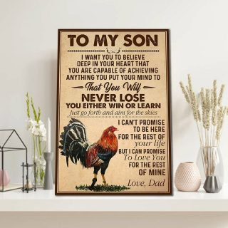 The Rooster To My Son, I Want You To Believe Deep In Your Heart That You Are  0.75 & 1,5 Framed Canvas- Home Living,Wall Decor