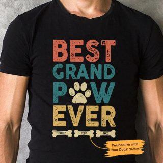 Personalized Best Grandpaw Ever Grandpa Funny Shirt, Vintage Shirt, Paw Shirt, Family Shirt, Family Gift