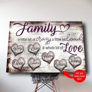 Personalized Family A Little Bit of Crazy A Little Bit of Loud - A Whole Lot of Love 0.75& 1.5 In Framed Canvas -Home Decor, Canvas Wall Art