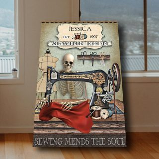 Personalized Sewing Room Skeleton Sewing Room Sewing Mends The Soul 0.75 & 1,5 Framed Canvas -Canvas Wall Art -Home Decor