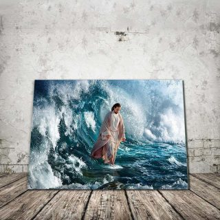 Jesus Commands The Winds And The Waves Canvas, Christian Love Canvas, Christ, Jesus Art Decor, Home & Living