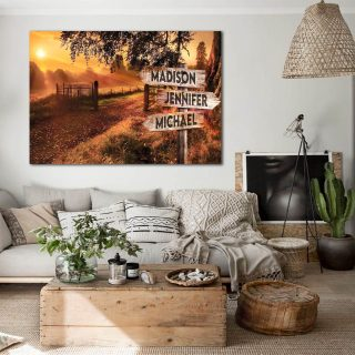Personalized Mountain Range Multi-Names Premium 0.75 & 1,5 Framed Canvas - Street Signs Customized With Names- Home Living- Wall Decor