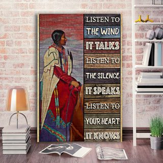 Native Woman Listen To The Wind It Talks Vertical 0.75 & 1,5 Framed Canvas - Home Living -Wall Decor