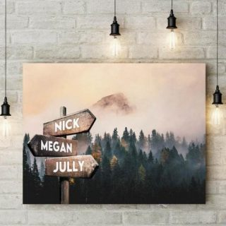 Stunning Dark Mysterious Pine Woods With Fog Multi-names Premium Canvas - Family Street Signs Customized With Names- 0.75 & 1.5 In Framed -