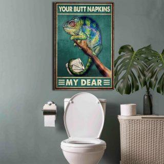 Chameleon Your Butt Napkins My Dear- Funny Bathrom 0.75 & 1,5 Framed Canvas- Home Living, Canvas Wall Decor