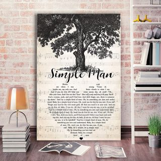 Simple Man Mama Told Me When I Was Young Lyris Song-  0.75 & 1,5 In Framed Canvas - Home Living, Wall Decor, Canvas Wall Art