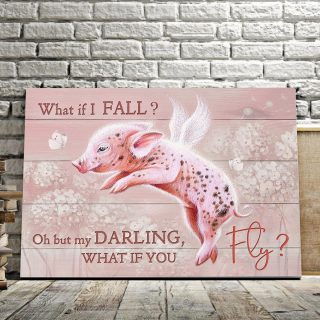 Flying Pink Pig Dandelion – What If I Fall, Oh But My Darling, What If You Fly 0.75& 1,5 Framed Canvas - Home Living- Wall Decor