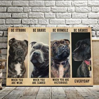 Staffordshire Bull Terrier – Be Strong When You Are Weak, Be Brave When You Are Scared 0.75& 1,5 Framed Canvas - Home Living- Wall Decor