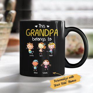 Personalized This Grandpa Belongs To Kids' Name Coffee Mug, Grandpa Gift, Dad Grandpa Mug